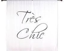 Chiffon Curtains - Tres Chic Curtains - Sheer Curtains - Paris Curtains - Dorm Room Curtains - Black and White Curtains - Glam Decor