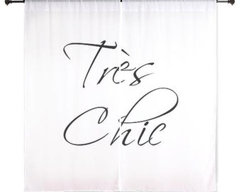 Chiffon Curtains - Tres Chic Curtains - Sheer Curtains - Paris Curtains - Dorm Room Curtains - Black and White Curtains - Glam Decor