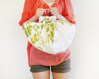 Furoshiki bag Japanese cotton cloth - Eucalyptus Ecru
