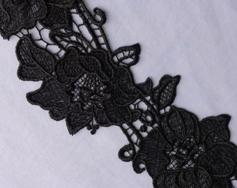 4'' Black embroidery lace trim for dress  Shawls, scarves, hats..sales by the yard