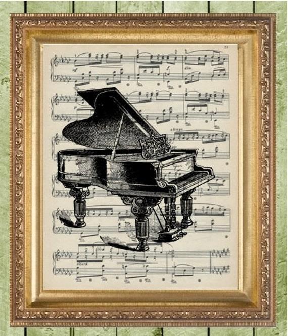 Piano Music Wall Decor : Sheet music wall decor art print piano on