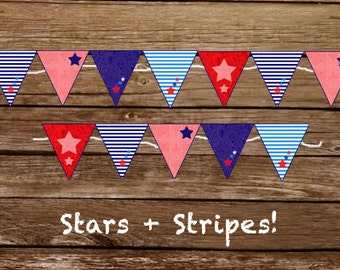 Stars & Stripes Banner - Red, White and Blue - Print at home Banner