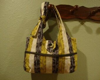Green Vine & Stripe Handbag/Purse