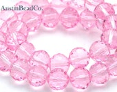 10pcs Swarovski Beads, Faceted Round - Light Pink, Pink Crystal, Tiny Facets, Chessboard, Crystal Beads Size 8mm (D008)