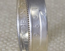 1996 Silver Washington US Quarter Dollar Double Sided Coin Ring Sizes 3-13 19th Birthday 19 Year Wedding Anniversary Gift Silver Coin Rings