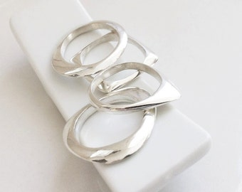 """G00-All forms. """"Ellipse"""", """"Triangle"""", """"Square"""" and """"Round"""", Sterling Silver."""