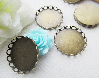Antique Bronze Blank Round Charm Finding,Base Setting Tray Bezel,Lace Border,fit 14mm Cabochon/Bottle