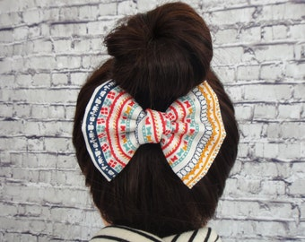 Colorful Patterns Cotton Fabric Hair Bow Barrette For Girls Bows For Parties