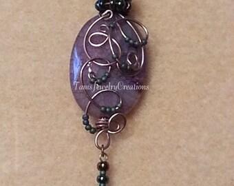 Purple Agate Gemstone Wire Wrapped Pendant