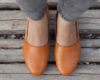 Camel Leather Shoes, Camel Shoes, Loafers, Flat Shoes, Yellow Shoes, Camel Slip Ons , Free Shipping