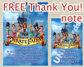 Disney Pirate Fairy invitation - Frozen birthday Invitation - Birthday Party Invitation - Printable Pirate Fairy invitation