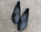 Women's Dark Green Leather Slippers