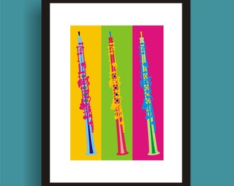 Oboe  Pop Art Original Print by C Wiedenheft  comes with a white mat and ready to frame.