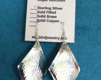 Sterling Silver Earrings Hammered Diamond Shape