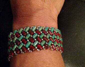 Torquoise & Wine bracelet