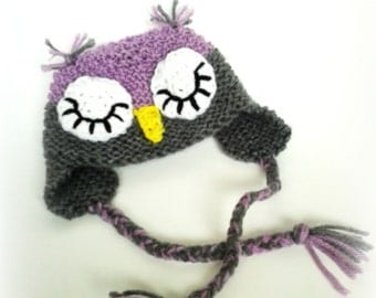 Newborn Sleeping Owl hat, photo prop, newborn hat, girl hat, baby shower