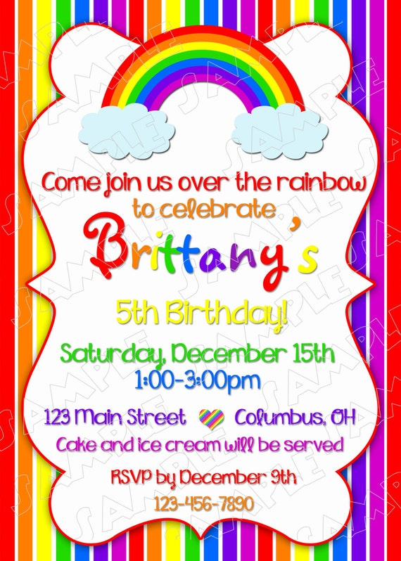 Rainbow party invitation birthday party rainbow party printable