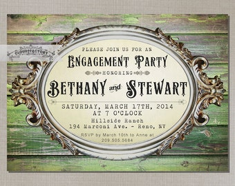 Rustic Engagement Party Invitations Printable Digital Invitation Green Wood Vintage Look Country Chic Antique Ornate Frame No.510
