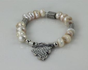 White Pearl Bracelet, June Birthstone Bracelet, Cultured Pearl & 925 Sterling silver Bracelet, 925 Silver Bracelet, Bridesmaid Bracelet