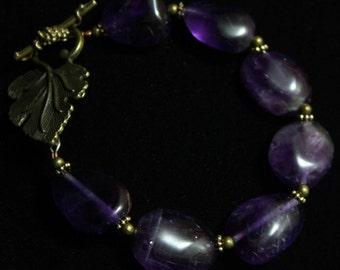 Amethyst grape bead bracelet