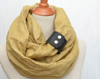 Linen Infinity Scarf. Chunky Scarf. Natural Linen. Mustard. Black leather cuff.