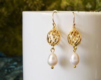 Pearl Drop Earrings Gold Filigree Earrings Trendy Lovely 14kt Gold Filled Earwires Filigree Charms