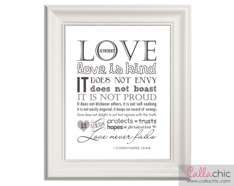1 corinthians 13 wall art printable love is patient by. Black Bedroom Furniture Sets. Home Design Ideas