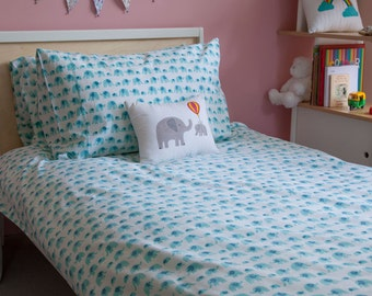 Turquoise elephant single duvet cover