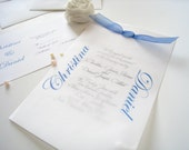 Layered wedding invitation with ribbon - simple and elegant - PaperLovePrints