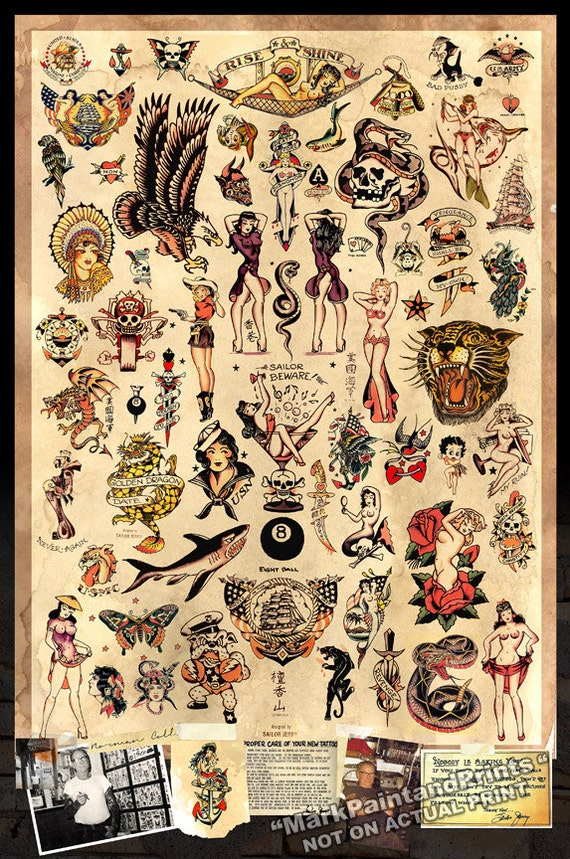 Sailor jerry tattoo flash poster print 24x36 for Tattoo shops in norman