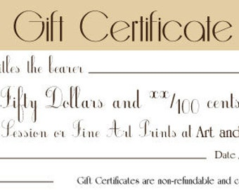 Gift Certificate- Fifty Dollars