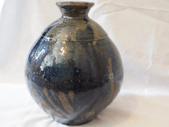 Drizzled Blue Vase