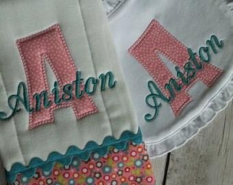 Baby Girl Shower Gift Set Burp Cloth Bib Monogrammed Appliqued
