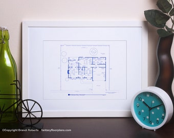 Simpsons House Layout - Famous TV Show Floor Plan - BluePrint Poster Art for Home of Marge and Homer Simpson 1st Floor *Seen On AOL News