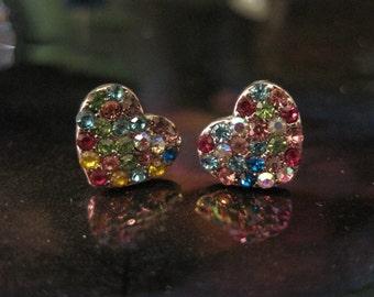 Multicolor Heart Earrings - Stud Earrings - Rhinestone Multicolor Heart Earrings  - Beach Wedding - Heart Earrings - Valentine's Day