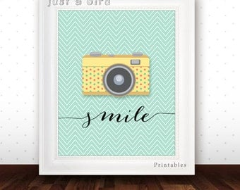 Retro Camera Poster, Smile, Positive Quote poster print, Camera art print, inspirational wall decor,  mint green nursery -INSTANT DOWNLOAD