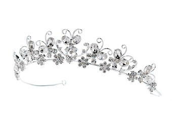 Floral Swirl Butterfly Tiara Headpiece with Rhinestone Accents
