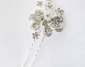 Rhinestone Accented Floral Butterfly Bobby Hair Pin