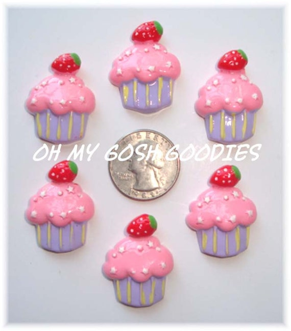 Piece Set PINK STRAWBERRY CUPCAKE Resins - Oh My Gosh Goodies