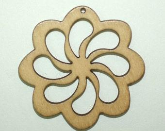 4 Wooden Flower Pendants included 46 mm