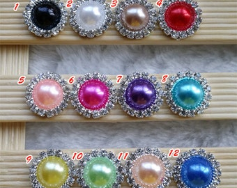 Wholesale 100 pcs 15mm Diamante Crystal Pearl and clear Cluster,sparkly,Scrapbooking Craft ,flat back ,metal rhinestone buttons,DIY center
