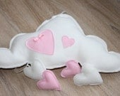 Gorgeous decorative cloud mobile baby nursery decor cloud and heart wall hanging shower gift