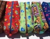 Large Zipper Pencil or Toiletries Tote in Various Prints: Madagascar, floral, Scooby, Hippo, Bug, Butterfly, Cheeta