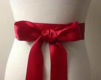 """1.5"""" Plain Sash-Red Sash-Basic Sash-Simple Ribbon Sash-Bridal Sash-Bridesmaid Sash-Wedding Sash-1.5"""" Ribbon Belt-Double Sided Satin Sash"""