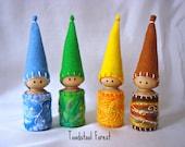 Four Season Gnomes ~  Winter Blues, Spring Greens, Summer Yellows, Autumn or Fall Browns ~ 4 Season Peg Gnomes ~ Waldorf Inspired
