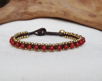 Carnelian around Brass Bracelet