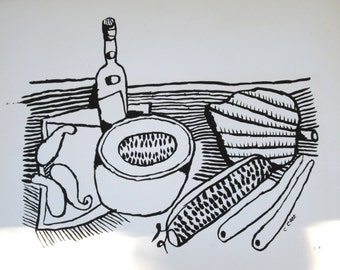 Chinese brush ink drawing of kitchen still life
