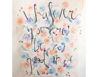 floral watercolor painting of Abraham Lincoln quote