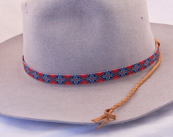 Geometric Design Beaded Hatband in Colors of Reds, Blues and Dark Gold. This Celtic Cross Design Looks Great with Cowboy Felt and Staw Hats