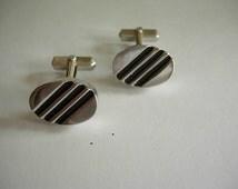 1950s Swank Silver Rockabilly Cuff Links